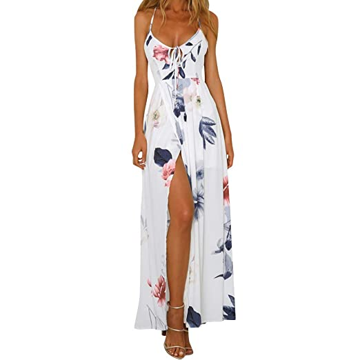 8d69208798 F_Gotal Womens Dresses Summer Casual Boho Print Long Maxi Dress Backless Fashion  Beach Sundress Party Cocktail at Amazon Women's Clothing store: