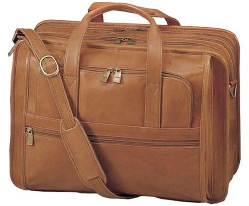 Laptop Tablet Computer Leather Carry-On Briefcase Tote Bag And Luggage All-In-One. Perfect For Business Travel, Office, School Supplies. All Natural Light Brown Leather