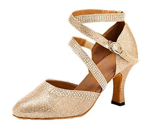 Honingwinkel Dames Glitter Gesloten Teen Hak Tango Salsa Balzaal Feest Bruiloft Latin Dance Champagne