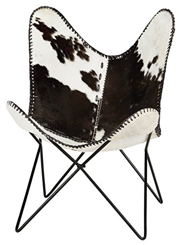 Ashley Furniture Signature Design - Wismar Butterfly Accent Chair - Minimalistic - Hair on Hide Cow Print Seat - Metal Frame