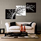 Abstract the black and white flowers decorative painting plum is the wind canvas modern art of three pieces no frame
