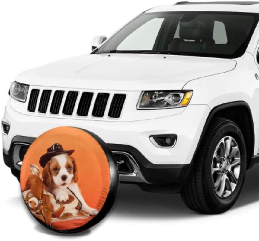 Cavalier King Charles Spaniel Puppy Miniature Truck Tire Covers Protector Wheels Tire Cover Waterproof Uv Sun 14-17 Fit for Jeep Trailer Rv SUV and Many Vehicle
