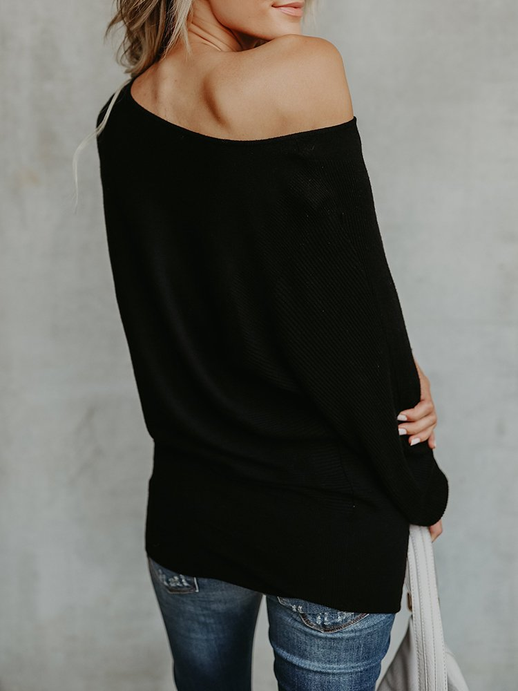Chuanqi Womens Sweaters Off The Shoulder Pullover Sweater Long Sleeve Oversized Knit Jumper by Chuanqi (Image #3)
