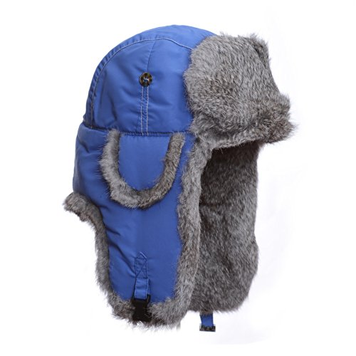 Mad Bomber Original Balaclavas Headwear, Blue with Grey Rabbit Fur, Large