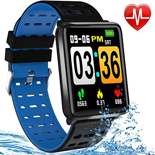 Format Colour - Fitness Tracker Heart Rate Smart Watch Blood Pressure/Oxygen Monitor IP67 Waterproof Health Activity Tracker Watches for Man Women 1.44 Inch Color Screen PM/AM Format Smart Bracelet Pedometer (Blue)