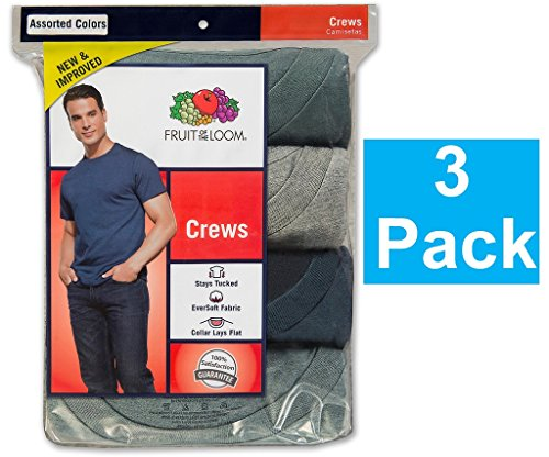 Fruit of the Loom Mens 3Pack Assorted Crew-Neck Undershirts T-Shirts, XL ()