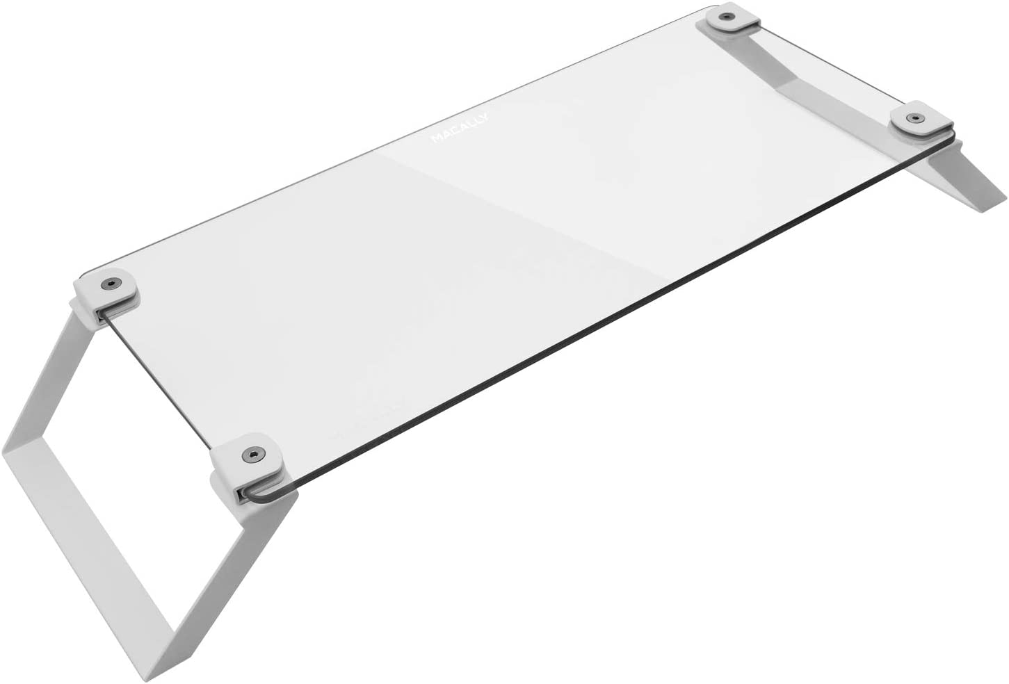 Macally Glass Computer Monitor Stand Riser - Desk Monitor Riser for Laptop with Shelf Storage Space for Keyboard - Sturdy Desktop Computer Stand & No Slip Pads - White