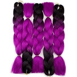 Braiding Hair 24Inch Ombre Braiding Hair High Temperature Fiber Crochet Twist Braids Black to Purple(24″, 1)