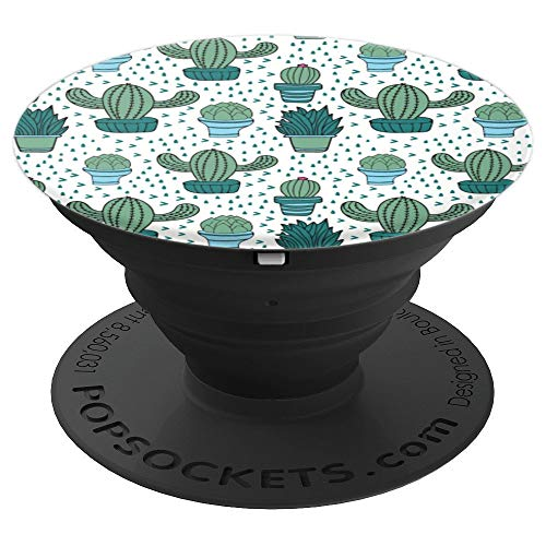 Cute Cactus and Plants Doodles Pattern - PopSockets Grip and Stand for Phones and Tablets (Pattern Willow Co)