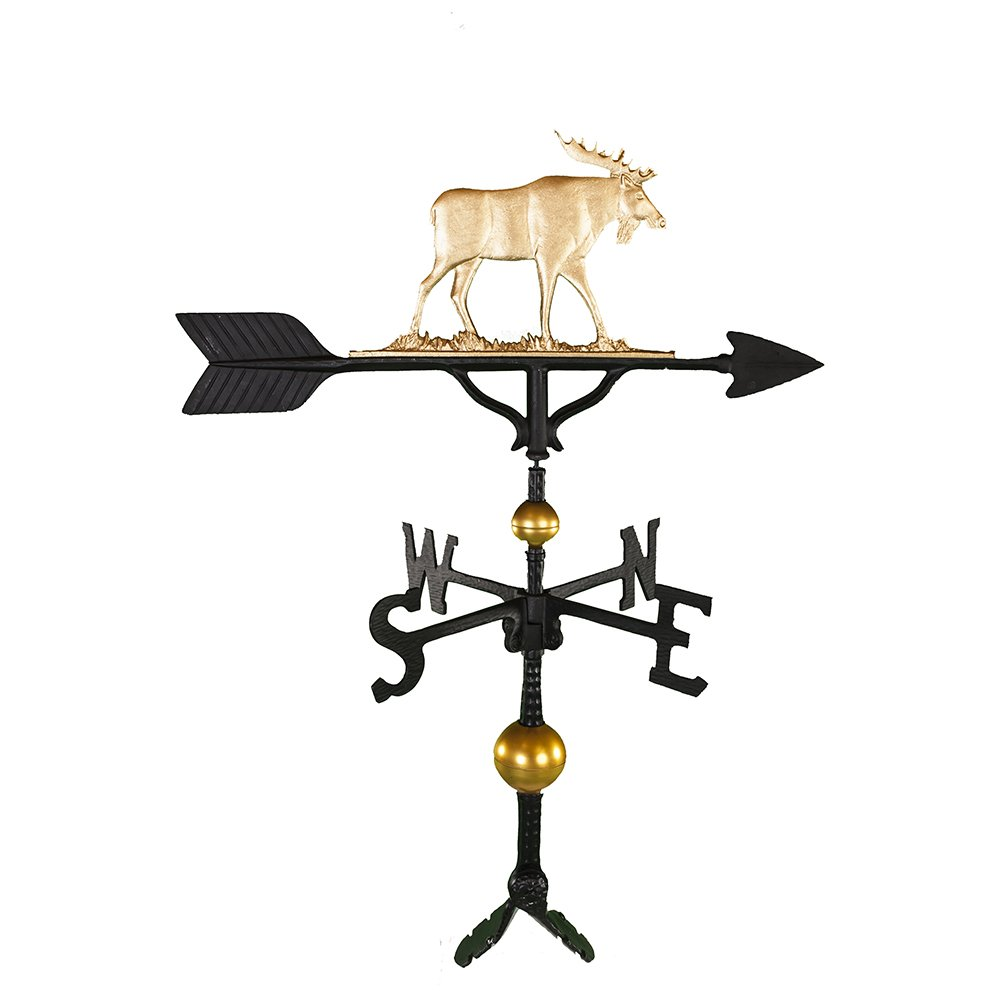 Montague Metal Products 32-Inch Deluxe Weathervane with Gold Moose Ornament