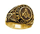 College Style (GOLD Plated) Stainless Steel Freemason Ring/Masonic Rings - Freemason's Jewelry for Free Masonry Member. Free Masons Masonary Ring with Masonic symbol (9)