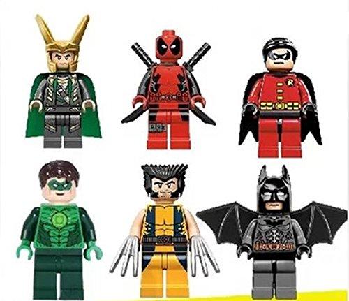 6 Sets Super Hero Series Minifigures Green Lantern Deadpool Loki Eco-friendly Plastic No Box (116-121) Sold By S-super