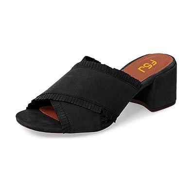 edad58578ad FSJ Women Comfort Open Toe Mules Faux Suede Cutout Sandals with Fringe Slide  Block Heels Size