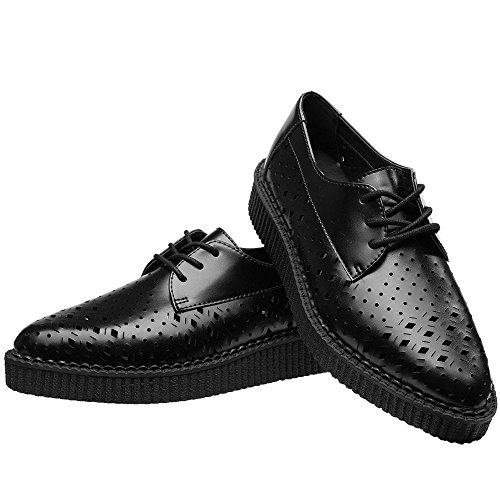 Pointed Creepers Perforation Mixed Leather Shoes T Women's k Black u Rxwa8
