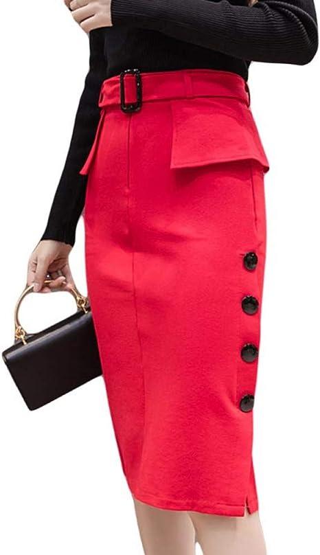 DAHDXD Faldas de Oficina de Moda Falda Midi de Cintura Alta para ...