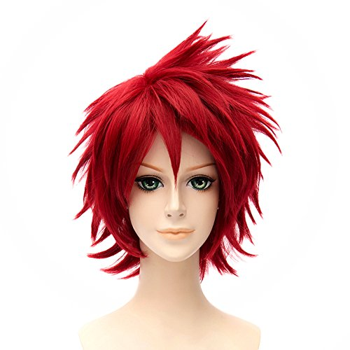 HH Building Naruto Shippuden Anime Cosplay Wig Sasori Men Spiky Short Red Hair