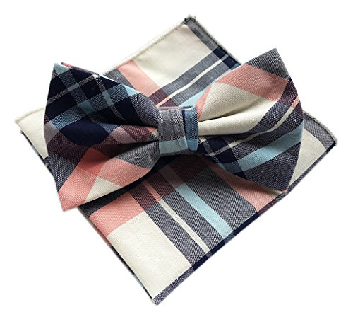 Elfeves Mens Beige Navy Pink Blue Woven Plaids Business Formal Bow Ties for Gift