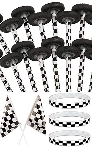 (HAPPY DEALS ~ 12 Checkered Race Pencils with Wheel Erasers + 12 Checkered Bracelets + 12 Checkered Flags - Racing Party Favor Set )