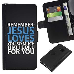 BearCase / Cuero de la tarjeta la carpeta del tirón Smartphone Slots Protección Holder /// HTC One M7 /// BIBLIA Jesús te ama tanto que murió por usted