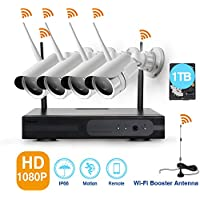 4 Pack HD 1080P Wireless Security Camera System with 1TB Hard Drive and 4 2.0 Mega Pixels Indoor/Outdoor WiFi IP Cameras with Smart Remote Auto-Pair Easy Remote Access (NVR Built-in Router)