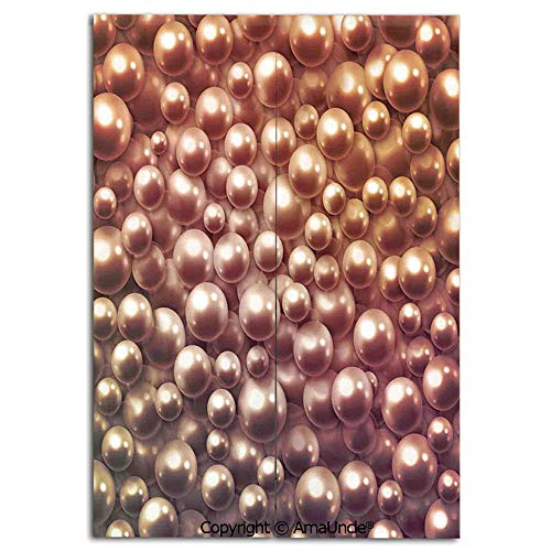 Japanese Style Doorway Curtain,Doorway Divider for Living Room and Kitchen,Various Size Mixed Rare Nacreous Pearls Gemstone Oyster Concept Golden Ombre Pattern(31.5x47.2 Inches),Personalized Home Deco