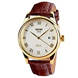 SKMEI Men Business Quartz Watches Waterproof Analog Dress Watch Leather Band with Auto Date (Brown+Gold)