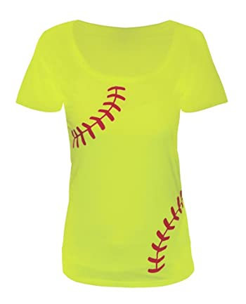 Women's Softball T-shirt – Slim Fit Scoop Neck Laces