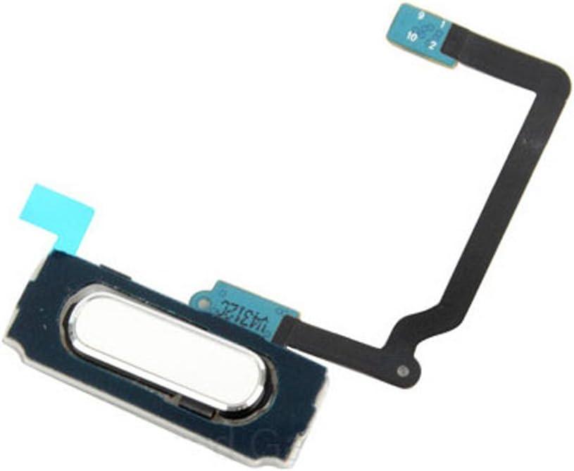 Home Button Flex Cable Fingerprint Key Replacement Kit for Samsung Galaxy S5 I9600 G900, G900f, G900a, G900v, G900p, G900r4, G900t (All Carriers) (White)