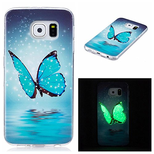 Galaxy S6 edge Case, Firefish Luminous Noctilucent Glow in the Dark Case Shock Absorbing Protective Phone Back Cover Soft TPU Shell Case for Samsung Galaxy S6 edge-Feather