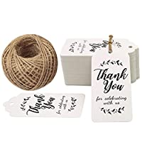 100PCS Thank You Tags 1.6 X 1.6Round Kraft Paper Gift Tags with 164 Feet Natural Jute Twine Perfect for Valentines Day Wedding Party Favor Baby Shower