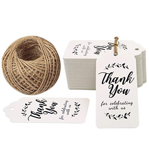 Thank You for Celebrating with Us Tags, 100PCS Paper Gift Tags with 100 Feet Natural Jute Twine Perfect for Wedding,Baby Shower and Party Decoration (White) ()