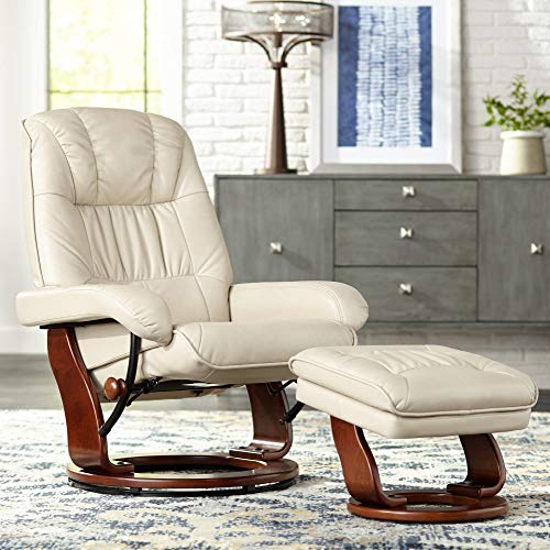 Taupe Leather Recliner - Kyle Taupe Faux Leather Ottoman and Swiveling Recliner
