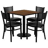 Flash Furniture 30'' Square Walnut Laminate Table Set with 4 Grid Back Metal Chairs - Black Vinyl Seat