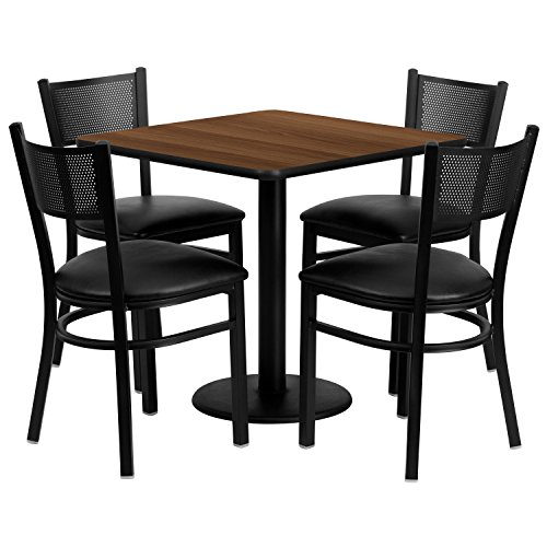 Flash Furniture 30'' Square Walnut Laminate Table Set with 4 Grid Back Metal Chairs - Black Vinyl Seat