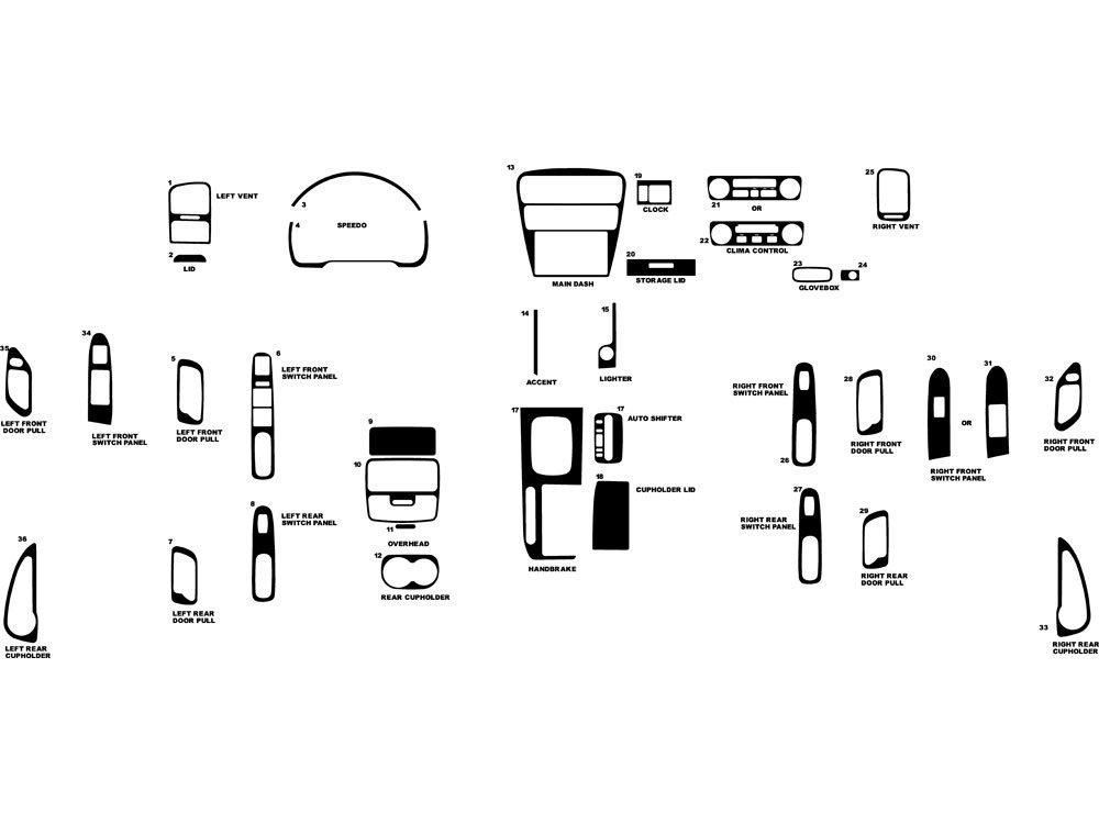Rdash Dash Kit Decal Trim for Honda Accord 2001-2002 - Carbon Fiber 3D (Orange)