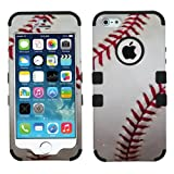 MyTurtle Hybrid Phone Case for iPhone SE 5S 5 Bundled with [9H Tempered Glass] Screen Protector Shock-Absorption and Anti-Scratch Bumper Back Cover (Baseball)