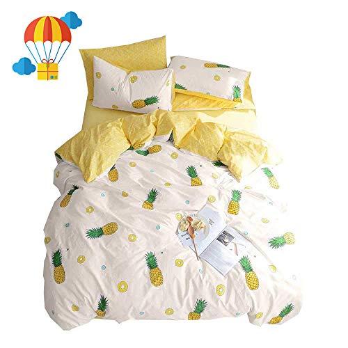 BuLuTu Pineapple Queen Duvet Cover Set Cotton Cream/Off