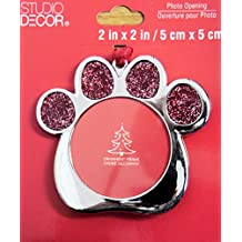 Red Glitter Dog Paw Christmas Ornament Photo Frame Metal