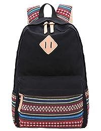 Leaper Lightweight Canvas School Backpack Laptop Bag Shoulder Daypack (Large, Black Flower)