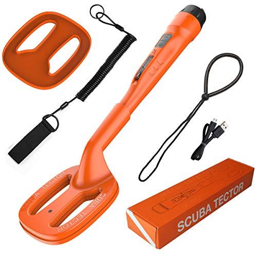 Scuba Tector Underwater Metal Detector Bright Orange Color 200ft/60M Waterproof Saltwater River Treasure Hunting high Sensitivity Easy to use USB Rechargeable (Orange)