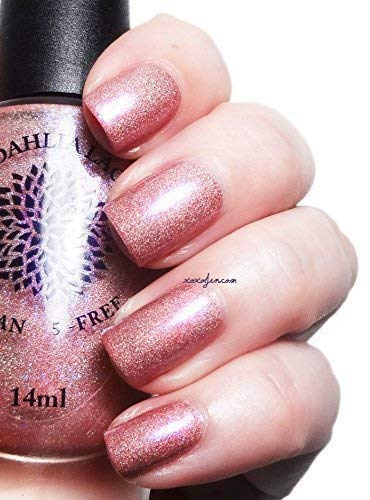 (Capital Rose Garden   Pink Nail Polish with Shifting Shimmer & Scattered Holo Finish   by Black Dahlia Lacquer)