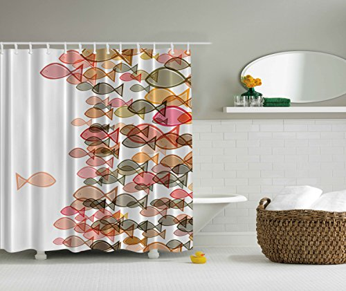Fish Shower Curtain Colorful Fish Nautical Coastal Decor Selection Fish Flock One Facing Others