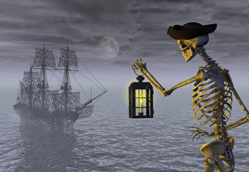 Wallmonkeys Skeleton Pirate with Ghost Ship Peel and Stick Wall Decals WM236343 (24 in W x 17 in H)