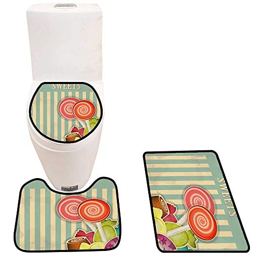 Lid Toilet Cover Old Candy Store Chocolates Lollipops with White Stripes on Baby Blue Backdrop Multicolor Personalized Durable