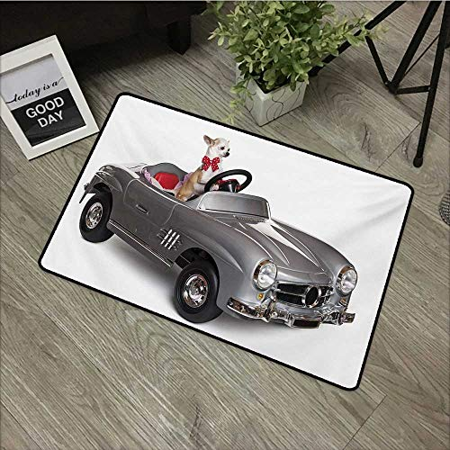 Hall mat W35 x L47 INCH Dog Driver,Chihuahua Puppy in The Car with Bow Tie Fashion Auto Fancy First Studio Shot,Multicolor Non-Slip, with Non-Slip Backing,Non-Slip Door Mat Carpet