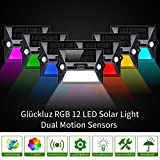 Glückluz Solar Lights Outdoor Wireless RGB 7 Color Changing LED Wall Decorative Lighting with Dual 2 Motion Sensors No Dead Angle for Patio Garden Porch Pathway Garage Backyard