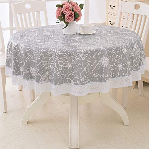 Round Vinyl Oilcloth Lace Tablecloth Waterproof PVC Plastic Wipeable Spillproof Peva Heavy Duty Tablecloth for Outdoor Patio Grey Flower 60 Inch (Wipeable Tablecloth Round)