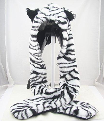 [White Tiger Full Animal Cap Hood Hoodie Hat Faux Fur Warm Zipper Hat] (White Tiger Costumes)