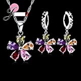 Flowers Colorful Crystal Jewelry Sets Gift Sterling Necklace Earring Sets