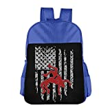 MUtang SHU Wrestling American Flag School Backpacks For Boys Girls RoyalBlue